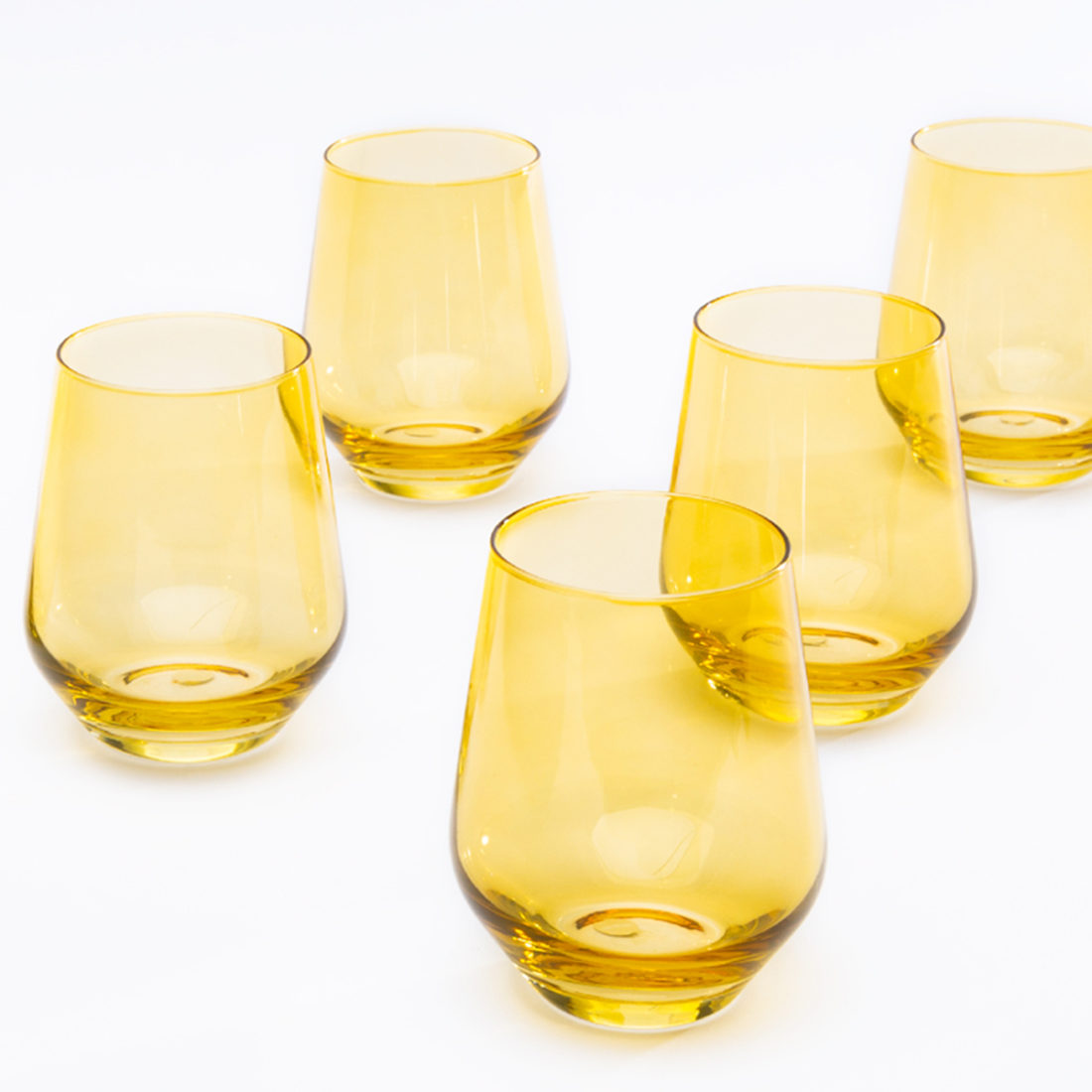 Yellow Stemless Wine Glasses by Estelle Colored Glass